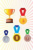 Gold silver and bronze medals, medal badge Royalty Free Stock Photography