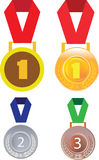 Gold silver and bronze medals, medal badge Stock Images