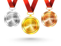 Gold, Silver and Bronze Medals for Olympic Games. Royalty Free Stock Photos
