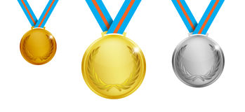 Gold, silver and bronze medals. Royalty Free Stock Image
