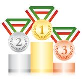Gold silver and bronze medals on a podium. Award ceremony sport icon. Green white and red ribbon. Gold silver and bronze medals on a podium. Award ceremony Royalty Free Stock Photo