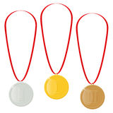 Gold, silver or bronze medals. Reward for the victory. Achievements in the competition. Royalty Free Stock Photos