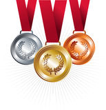 Gold, silver and bronze medals with ribbon. Sport gold, silver and bronze positions with red ribbon set background. Vector file layered for easy manipulation and Royalty Free Stock Photos