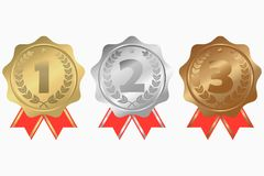 Gold, silver and bronze medals with ribbon, star and laurel wreath. First, second and third place awards. Vector. Gold, silver and bronze medals with ribbon Royalty Free Stock Image