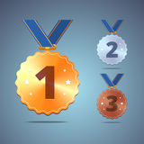 Gold, silver and bronze medals with ribbon Stock Photography