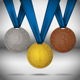 Gold, silver and bronze medals. Gold, silver and bronze medals with ribbon. Vector illustration royalty free stock photography