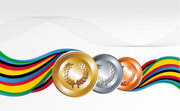 Gold, silver and bronze medals with ribbons. Sport gold, silver and bronze medal with ribbons background. Vector file layered for easy manipulation and Stock Photos
