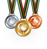 Gold, silver and bronze medals with ribbons. Sport gold, silver and bronze medals with ribbon elements set background. Vector file layered for easy manipulation Royalty Free Stock Images