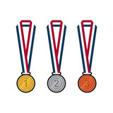 Gold, silver, bronze medals with ribbons flat design  illustration Stock Images