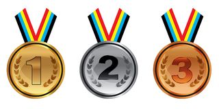 Gold silver and bronze medals with ribbons isolated on white background. Vector. Illustration Royalty Free Stock Photos