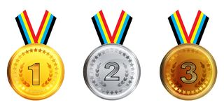 Gold silver and bronze medals with ribbons isolated on white background. Vector. Illustration Stock Photos