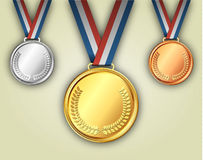 Gold silver and bronze medals on ribbons Royalty Free Stock Images