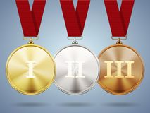 Gold  silver and bronze medals on ribbons Stock Photo