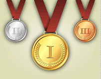 Gold silver and bronze medals on ribbons Royalty Free Stock Photo