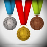 Gold, silver and bronze medals. Gold, silver and bronze medals with ribbons. Vector illustration Stock Photos