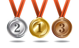 Gold, silver and bronze medals. Medals and ribbons for the winners. Gold, silver and bronze colors Stock Images