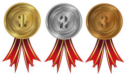 Gold, silver and bronze - medals 1 2 3. Seals or medals set of white isolated Stock Photos
