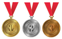 Gold, silver and bronze - medals 1 2 3. Seals or medals set of white isolated Stock Image