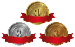 Gold, silver and bronze - medals 1 2 3. Seals or medals set of white isolated Royalty Free Stock Photography