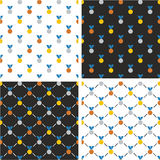 Gold, Silver & Bronze Medals Seamless Pattern Blue Color Set Royalty Free Stock Photos
