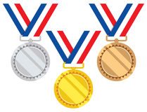 Gold, silver and bronze medals, vector  Stock Images