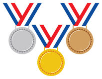 Gold, silver and bronze medals, vector  Stock Image