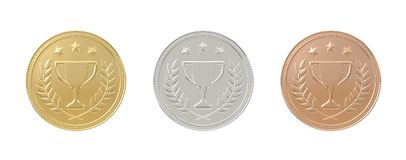 Gold, silver, bronze medals set Stock Photography