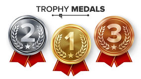 Gold, Silver, Bronze Medals Set Vector. Metal Realistic Badge With First, Second, Third Placement Achievement. Round. Label With Red Ribbon. Winner Prize Stock Image