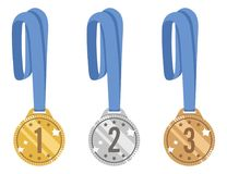Gold, silver and bronze medals shiny vector set. award for victory with a blue ribbon. icons isolated on white background Royalty Free Stock Image