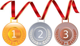 Gold silver and bronze medals for 1st , 2nd and 3rd Royalty Free Stock Photography