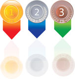 Gold silver and bronze medals for 1st , 2nd and 3rd. And 1 ,2, 3 Stock Image