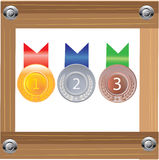 Gold silver and bronze medals for 1st , 2nd and 3rd vector illustration