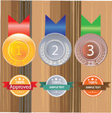 Gold silver and bronze medals for 1st , 2nd and 3rd. And 1 ,2, 3 Royalty Free Stock Images