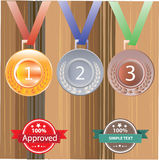 Gold silver and bronze medals for 1st , 2nd and 3rd Stock Images