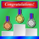 Gold, silver and bronze medals for 1st, 2nd and 3rd places. Vector Illustration Royalty Free Stock Photography