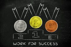 Gold, silver and bronze medals with text Work for success Stock Image
