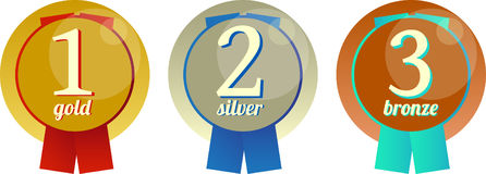 Gold, silver and bronze medals. Three vector medals - gold, silver and bronze for the winners Stock Photos