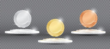 Gold, Silver and Bronze Medals on Transparent Background. Stock Image