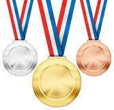 Gold, silver, bronze medals with tricolor ribbons. Gold, silver, bronze realistic sport medals with tricolor ribbon set isolated on white Stock Images