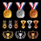 Gold silver bronze medals , Trophy Cup Olive leaf , start award vector set design Stock Photo
