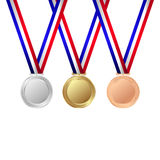 Gold, silver and bronze medals. Trophy . Vector illustration Stock Photos