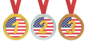 Gold, Silver and Bronze medals with USA flag, 3D rendering Royalty Free Stock Photos