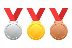 Gold, silver, bronze medals vector illustration  on white. Background Stock Photos