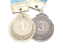 Gold,silver and bronze medals Royalty Free Stock Photos