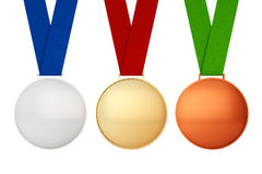 Gold, Silver and Bronze Medals Stock Images
