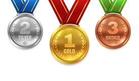Gold silver bronze medals. Winner shiny circle medal honor champion award ceremony trophy place sport ribbon best prize vector illustration