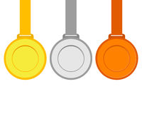 Gold, silver and bronze medals for the winners of the Champions. Vector illustration, flat icons Royalty Free Stock Image