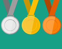 Gold, silver and bronze medals for the winners of the Champions. Vector illustration, flat icons Stock Images