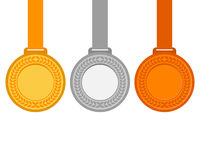 Gold, silver and bronze medals for the winners of the Champions. Vector illustration, flat icons Stock Photo