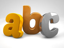 Gold silver and bronze metal abc alphabet letters 3d render. Illustration Royalty Free Stock Photo